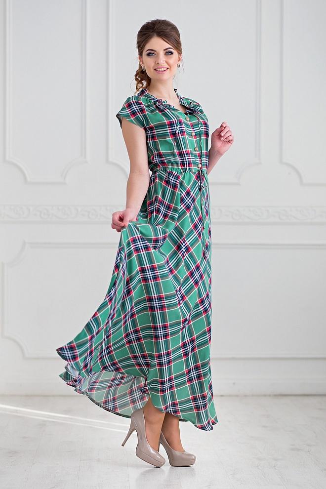 Летнее платье длинное в клетку